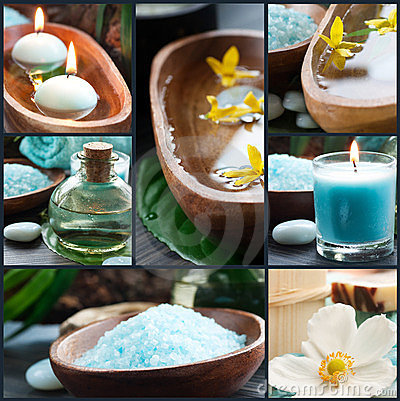 Spa collage in blue