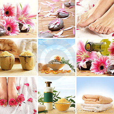A spa collage of female feet, flowers and stones