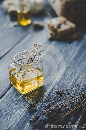Free Spa Composition. Aroma Essential Oil On Rustic Wooden Background, Selective Focus Stock Photo - 110764680