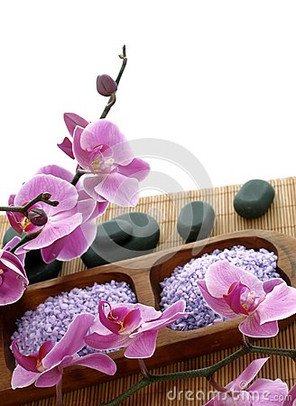 Spa composition of bath salt, stones and orchid