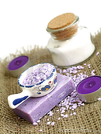 Spa composition of soap, bath salt and candles