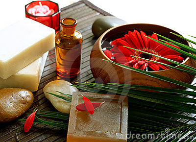 Spa composition of soap, stones and flowers
