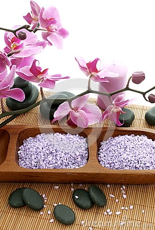 Spa composition of stones, bath salt and orchid