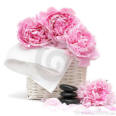 Spa concept with flower, towel and stones