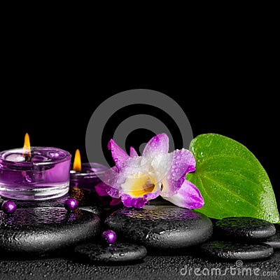 Free Spa Concept Of Purple Orchid Dendrobium, Leaf With Dew,  Candles Royalty Free Stock Photography - 54313667