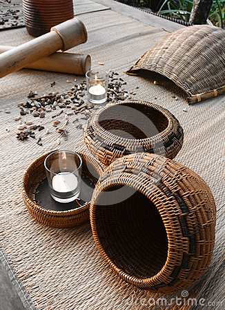 Spa decor of spices and rattan baskets
