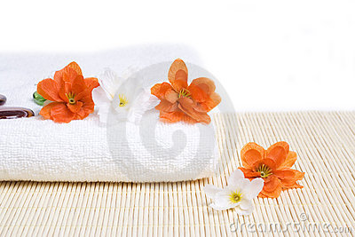 Spa detail. Towel and flowers