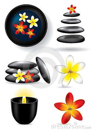 Spa elements - candle, flower, stones