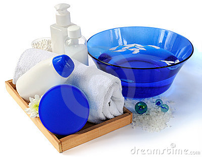 Spa essentials in blue and white color
