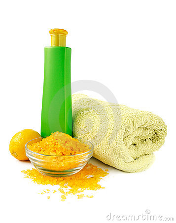 Spa essentials in yellow and green color