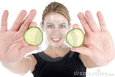 Spa facial with cucumber