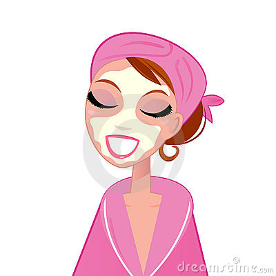 Free Spa Facial Girl Wearing Pink Bath Robe Royalty Free Stock Photos - 20551308