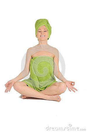 Free Spa Girl. Beautiful Young Woman After Bath With Green Towel. Isolated On White Stock Images - 28264584