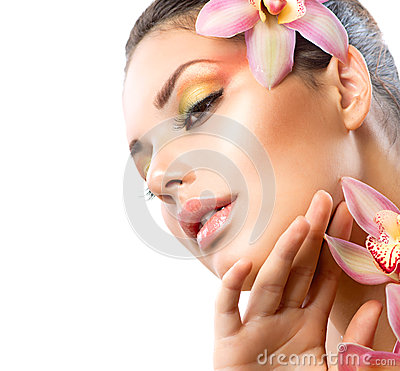 Spa Girl With Orchid Flowers