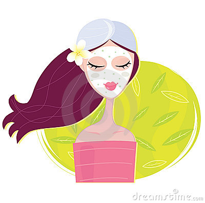 Free Spa Girl With Regeneration Facial Mask Stock Image - 13340871