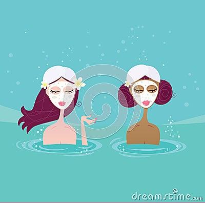 Spa girls relaxing in water pool