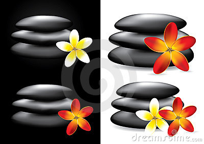 Spa hot stones and flower,