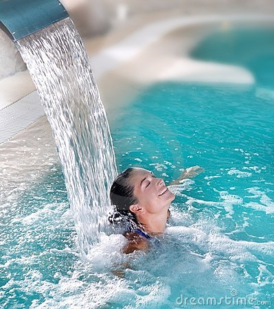 Free Spa Hydrotherapy Woman Waterfall Jet Stock Photo - 16585790