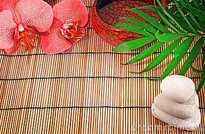 Spa items. Orchid, stones, palm, water