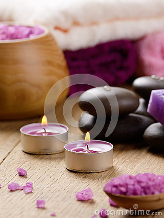 Free Spa Lavender Salt Set On The Wooden Table Royalty Free Stock Photo - 28250355