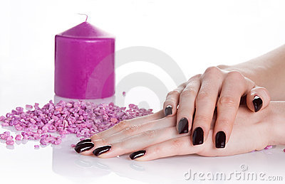 Spa manicure with aroma candle