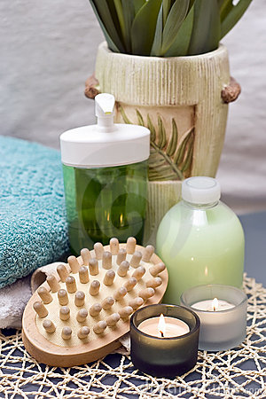 Spa massage and candles