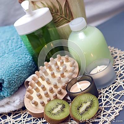 Spa massage and kiwi