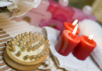 Spa massage and red candles