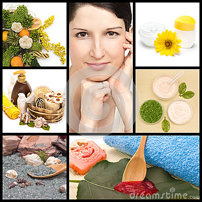 spa and natural cosmetics collage stock photo image