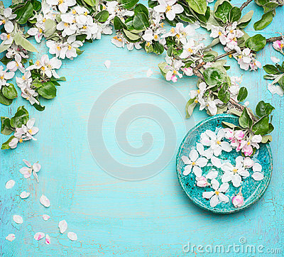 Free Spa Or Wellness Turquoise Background With  Blossom And Water Bowl With White Flowers, Top View Stock Photos - 71421053
