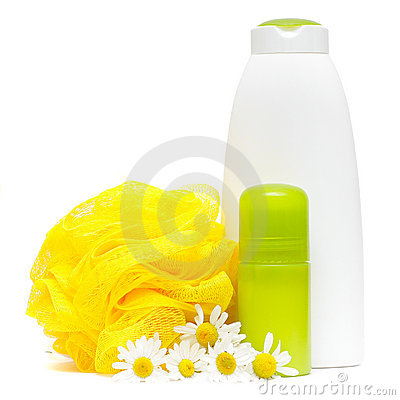 Spa products with camomile flower