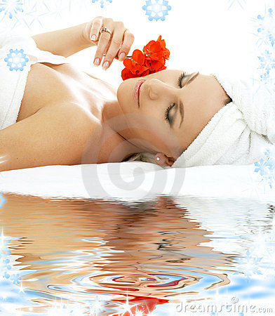 Spa relaxation on white sand