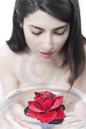 Spa with rose petal