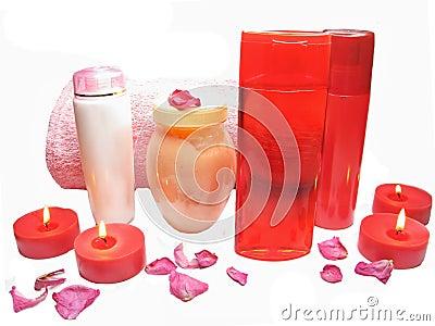 Spa rose petals cremes shampoo shower gel bottles