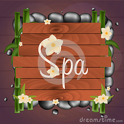 Free Spa Salon Banner With Stones. Thai Massage. Wooden Frame. Vector Illustration. Stock Images - 81841154