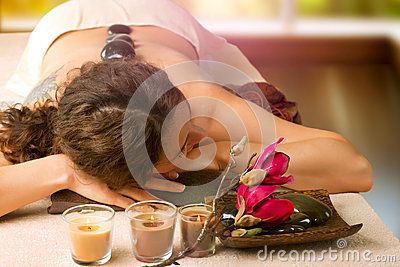 Spa Salon. Stone Massage