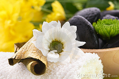 Spa set, black hot stones and towel