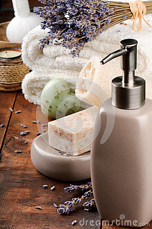 Spa setting with natural soap and lavender