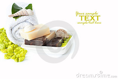 Spa setting with natural soaps and shampoo