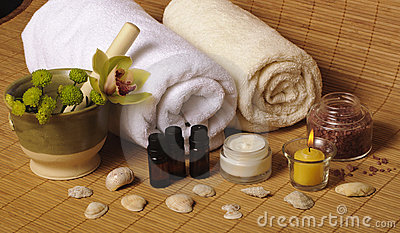 Spa setting with seashells