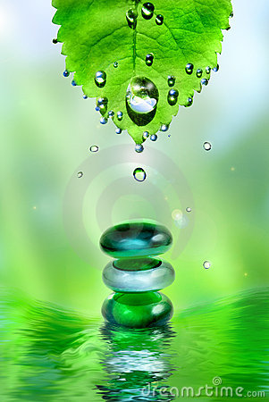 Free Spa Shiny Stones With Leaf And Water Drops Stock Image - 7915431