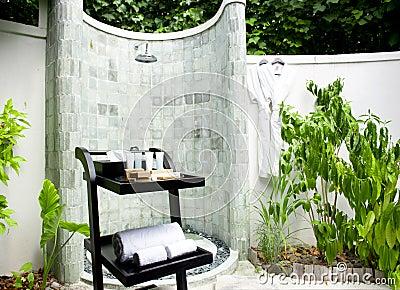Spa shower area outside