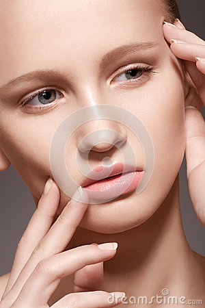 Spa, skincare beauty. Model face with clean skin