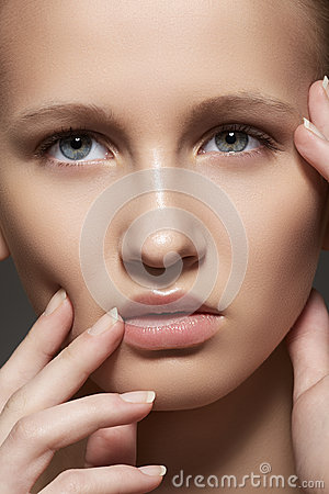 Spa, skincare, make-up. Woman face with clean skin