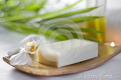 Spa soap and orchid closeup