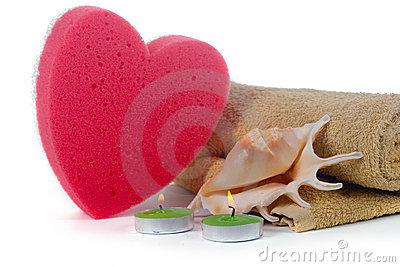 Spa still life with pink heart