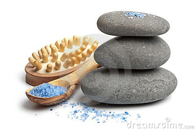 Spa stones and herbal salt isolated