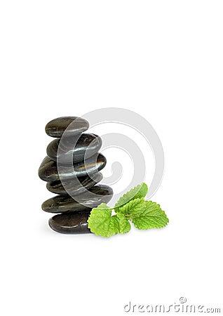 Spa Stones and Lemon Balm Herb