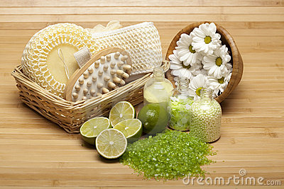 Spa supplies - bath salt and massage tools