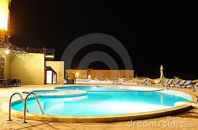 SPA swimming pool in night illumination